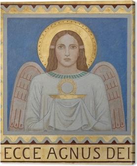 Canvas Wenen - Fresco van symbolische engel met de Eucharistie