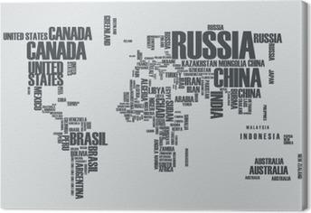 Canvas Wereldkaart: de contouren van het land bestaat uit de woorden