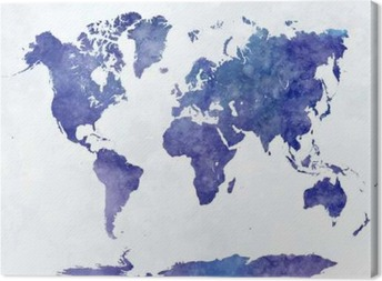 Canvas Wereldkaart in aquarel