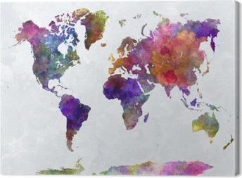 Canvas Wereldkaart in watercolorpurple en blauw