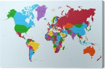 Canvas Wereldkaart, kleurrijke landen atlas EPS10 vector bestand.