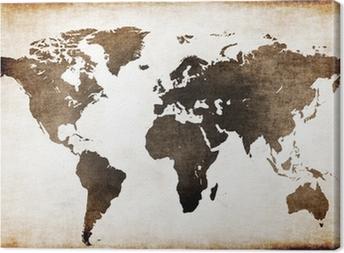 Canvas Wereldkaart oud