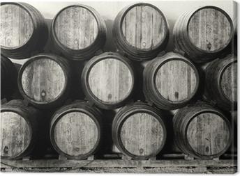 Canvas Whisky of wijn vaten in zwart en wit