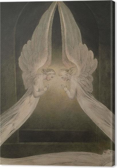 Canvas William Blake - Christus in het graf, bewaakt door de engelen - Reproducties