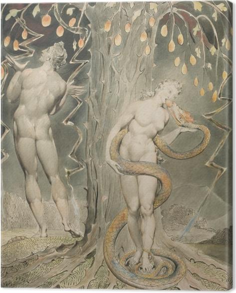 Canvas William Blake - Eva verleid door de slang - Reproducties
