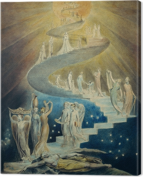 Canvas William Blake - Jakobs droom (Jakobsladder) - Reproducties