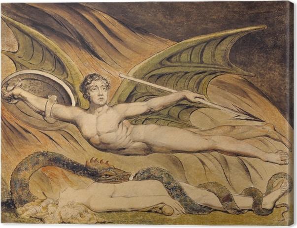 Canvas William Blake - Jubelende Satan over Eva - Reproducties
