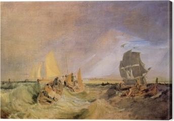 Canvas William Turner - De scheepvaart aan de monding van de Theems