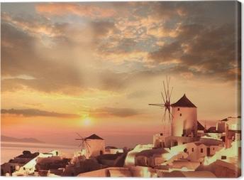 Canvas Windmolens in Santorini tegen zonsondergang, Griekenland