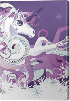 Canvas Witte eenhoorn