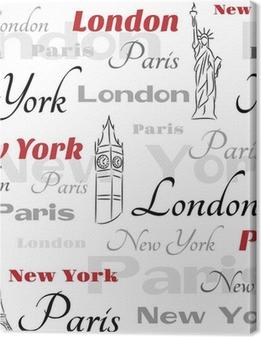 Canvas Witte naadloze patroon met symbolen van steden
