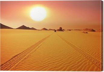 Canvas Woestijn op zonsondergang