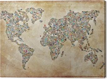 Canvas World Map's, vintage textuur