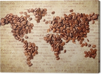 Canvas World Map Van Koffiebonen