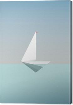 Canvas Yacht pictogram symbool in moderne laag poly stijl. Zomer vakantie of reizen vakantie achtergrond. Bedrijfs metafoor voor vrijheid en succes.