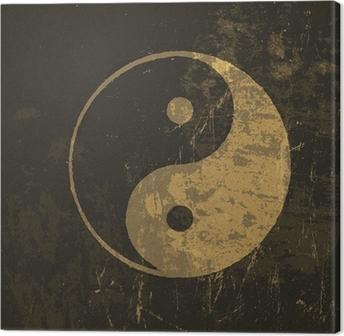 Canvas Yin yang grunge icon. Met spatie textuur, vector