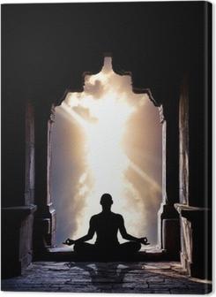 Canvas Yoga meditatie in tempel