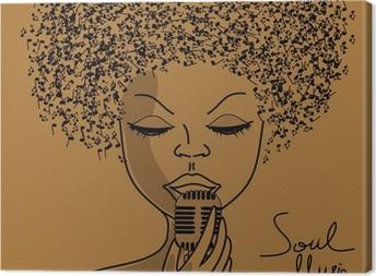Canvas Zanger silhouet met muzieknoten haar