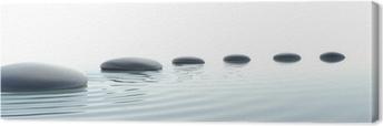 Canvas Zen pad van stenen in breedbeeld