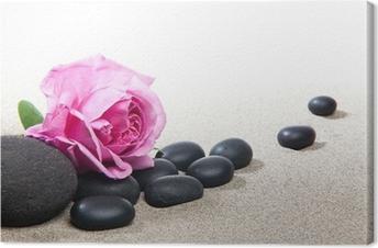 Canvas Zen sfeer - roze en zwarte stenen