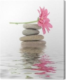 Canvas Zen / spa stenen met bloemen