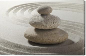 Canvas Zen tuin met zand en kiezels