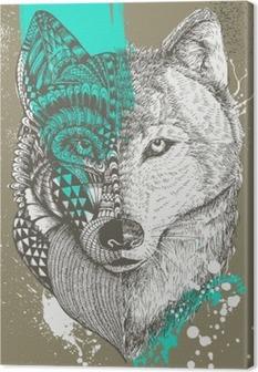 Canvas Zentangle gestileerde wolf met verfspatten, met de hand getrokken illustratie