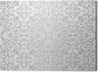 Canvas Zilveren barokke helder patroon