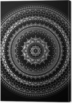Canvas Zilveren mandala