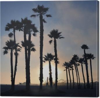 Canvas Zonsondergang en palmbomen, strand van Santa Monica, Los Angeles, Verenigde Staten