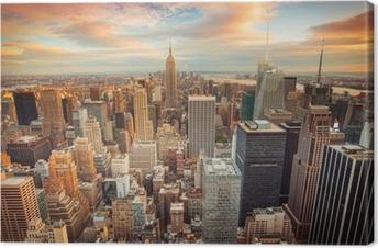 Canvas Zonsondergang in New York met uitzicht over Manhattan
