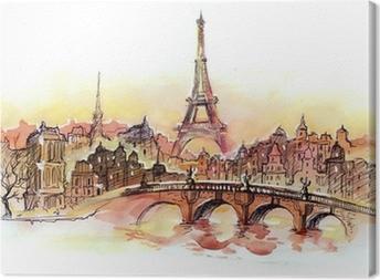 Canvas Zonsondergang in Parijs