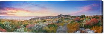 Canvas Zonsondergang op de mediterrane vegetatie
