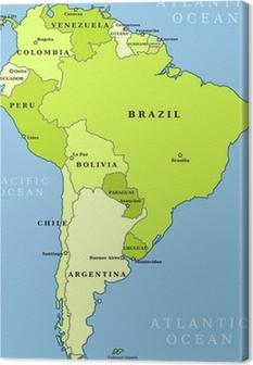 Canvas Zuid-Amerika administratieve kaart