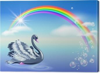 Canvas Zwaan en regenboog