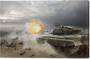 Canvas Zwaar pantser in het vuur van de strijd