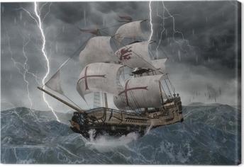 Canvastavla 3D segelfartyg galeon i stormiga hav