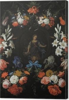 Canvastavla Abraham Mignon - Garland of Flowers