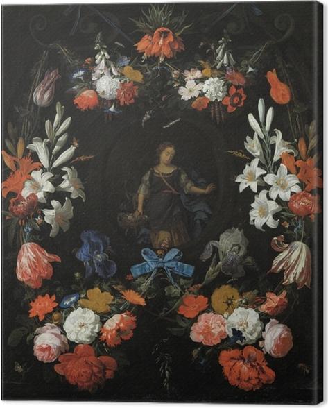 Canvastavla Abraham Mignon - Garland of Flowers - Reproduktioner