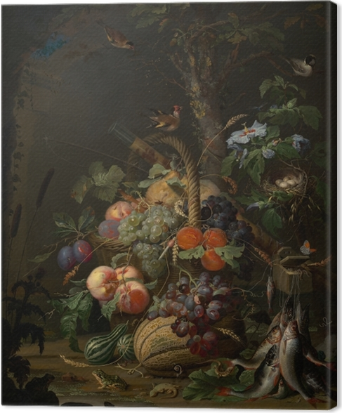 Canvastavla Abraham Mignon - Still Life with Fruit, Fish and a Nest - Abraham Mignon