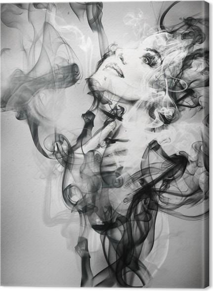 Canvastavla Abstrakt kvinna porträtt. akvarell illustration - Mode