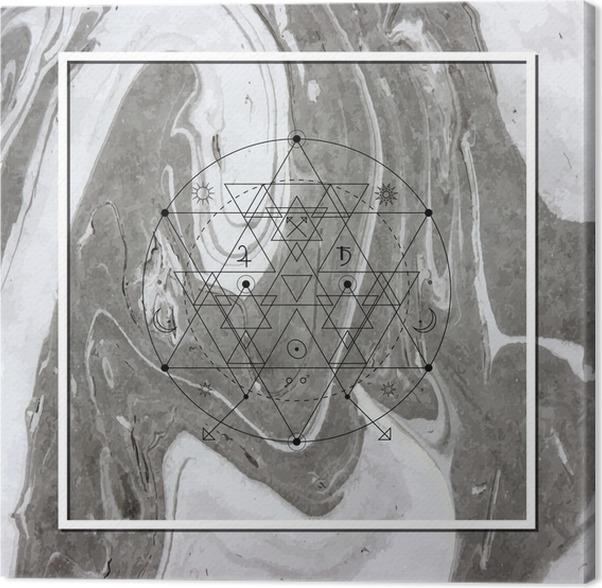 Canvastavla Abstrakt mystisk geometri, linjär alkemi, ockult, filosofiska tecken. - Grafiska resurser