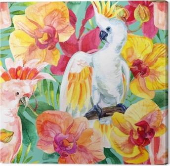 Canvastavla Akvarell Australian kakadua seamless