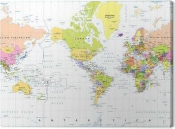 Canvastavla Amerika Centered politiska världskarta isolerad på vitt
