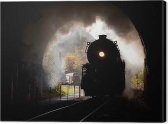 Canvastavla Ånglok träder tunneln