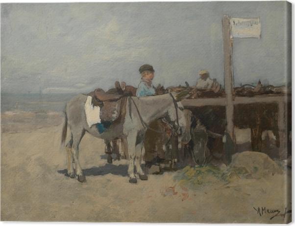 Canvastavla Anton Mauve - Ezelstandplaats op het strand te Scheveningen - Reproductions