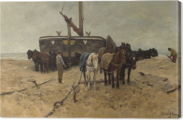 Canvastavla Anton Mauve - Vissersboot op strand - Reproductions