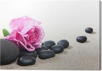 Canvastavla Atmosfären zen - rose et pierres noires