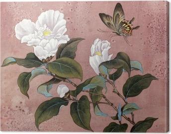 Canvastavla Azalea blomma och fjäril