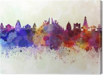 Canvastavla Bali skyline i vattenfärg bakgrund